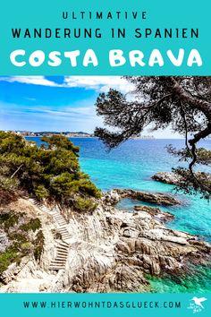 """Wandern an der Costa Brava. Erkunde die nordöstliche Küste Spaniens zu Fuß! Der Weitwanderweg an der spanischen Costa Brava wird als GR 92 bezeichnet. Der 220 km lange Weg startet im kleinen Örtchen Portbou, welches an der spanisch-französischen Grenze liegt, und verläuft bis zur bekannten Partystadt Lloret de Mar. Die Costa Brava (span. """"Wilde Küste"""") zeigt sich dabei von ihrer besten Seite. Wir finden der schönste Weitwanderweg Europas! #hike #spanien #costabrava Reisen In Europa, Trekking, Portugal, Backpacking, Road Trip, Around The Worlds, Hiking, Wanderlust, Explore"""