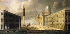 Venezia. Francois de Nomé: Veduta di Venezia. Olio su tela di prima del 1550. 54 X 107 cm. Collezione privata. Una vista allargata della piazza, forse, più famosa al mondo.