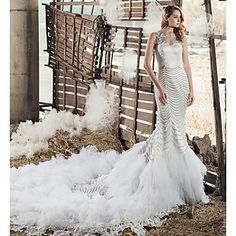Wedding Dress Trumpet / Mermaid Jewel – USD $ 779.99