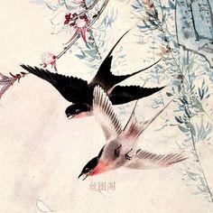 Chino-acuarela-de-seda-de-flores-y-pájaros-de-tinta-pera-doble-golondrina-original-de-la.jpg (750×750)