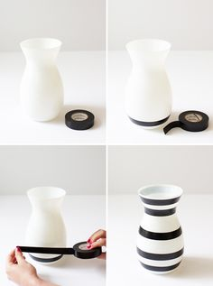 DIY striped vase--made with electrical tape