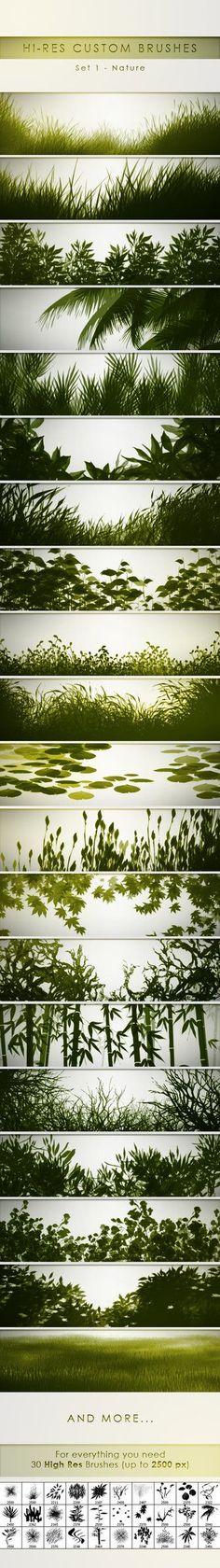 30 Hi-Res Custom Brushes - Nature by PrismaDesign.deviantart.com on @DeviantArt