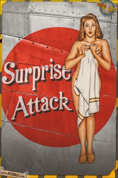 Today's airbrushed style pinup photo features KAyla in this Nose Art pinup 'Surprise Attack' based on a REAL World War 2 Liberator's nose art. Pin Up Vintage, Vintage Art, Nose Art, Dibujos Pin Up, Gravure Illustration, Pin Up Drawings, Pin Up Photography, Photography Editing, Portrait Photography