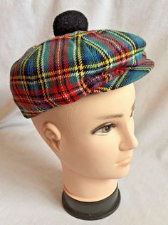 a4d2a96a3c2 Vintage Graham Textiles Wool Plaid Golf Hat w Pom Made in England