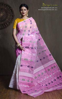 Pure Handloom Cotton Jamdani Saree in White and Pink Dhakai Jamdani Saree, Silk Saree Kanchipuram, Cotton Saree Blouse, Indian Silk Sarees, Saree Trends, Elegant Saree, Indian Attire, Saree Styles, Pure Products