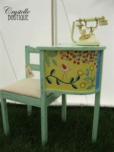 repainted gossip telephone table and chair