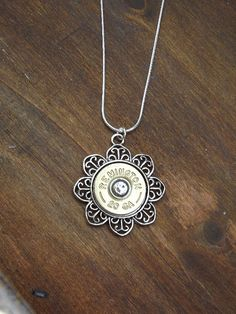 Bullet Jewelry - Filigree Flower Bullet Necklace with Brass Winchester or Remington Shotgun 20 Gauge and Crystal