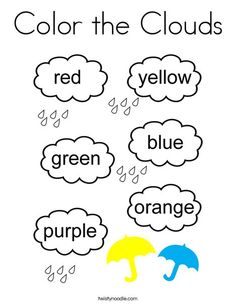 Color the Clouds Coloring Page - Twisty Noodle Color Worksheets For Preschool, Spelling Worksheets, Preschool Writing, Art Activities For Kids, Preschool Learning Activities, Free Preschool, Preschool Printables, Color Activities, Colors For Toddlers