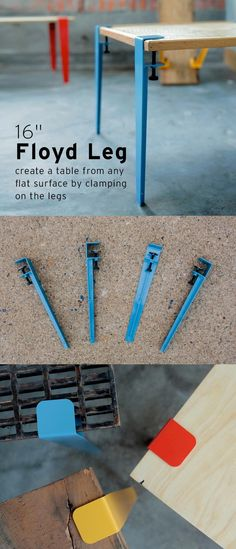 create a table from any flat surface by clamping on the legs