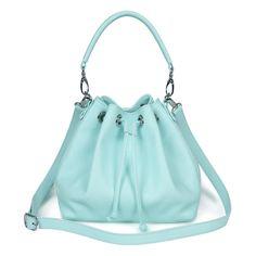 Light blue genuine leather handbag light blue by KaterinaFoxBags