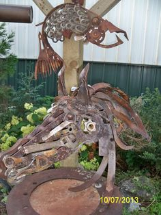 """Spirits in Steel > Found Objects  METAL HORSE- titled """" Blindside"""" recycled material sculpture by post Falls Idaho artist mark Olmstead,  457-1355 (208)"""