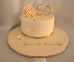 One Tier Golden Anniversary Cake Simple Cakes 50th Wedding