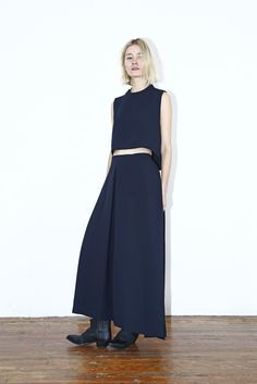 Wind Chime Raised Collar Cropped Top and Ring Pleated Maxi Skirt in Black Blue at Assembly New York #kaarem #assemblyny