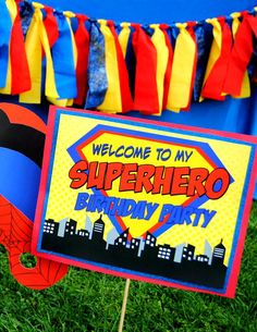 Krown Kreations & Celebrations 's Birthday / Superheroes - Comic SuperHERO at Catch My Party Superman Party, Superhero Birthday Party, 4th Birthday Parties, Boy Birthday, Birthday Ideas, Avengers Birthday, Spider Man Party, Comic Party, Avenger Party