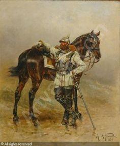 Prussian cuirassier, by Alphonse Neuville