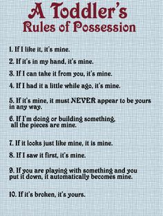 Truly A Tolddler's Rules of Possession