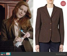 Abby's brown checked blazer on Scandal.  Outfit Details: http://wornontv.net/40927/ #Scandal