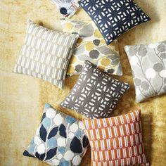 Modern Crewel Lattice Cushion Cover - Nightshade