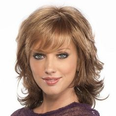 Charming Towheaded Medium Wavy Layered Full Bang Stylish Capless Women's Synthetic Wig