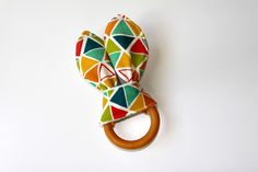 Organic Wood Teething Ring/Crinkle Toy, Colorful Triangles Organic Cotton Knit with Unbleached Organic Bamboo Terry, Ready to Ship by owesley on Etsy