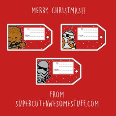 Do it yourself diy ideas star wars gifts celebrating christmas free star wars christmas gift tags cute kawaii star wars characters chewbacca bb 8 captain phasma star wars the force awakens solutioingenieria Images