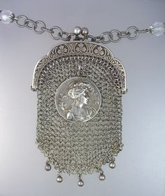 Antique French CHATELAINE STERLING Silver COIN PURSE Necklace Crystal Filigree Beads -n-sspr