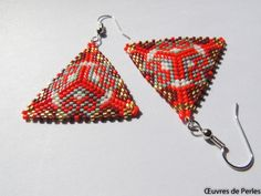 A personal favourite from my Etsy shop https://www.etsy.com/listing/540600792/triangle-seed-beads-earrings-in-red-grey