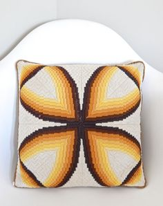 SOLD  1960s Yellow, Orange, Brown, and Cream-colored Needlepoint Pillow on Etsy, $25.00