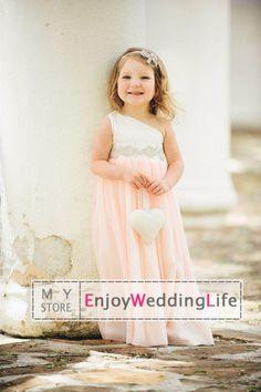 Wholesale Flower Girls' Dresses - Buy New Lovely One Shoulder Ruffles Organza Floor Length Beaded Waistband Flower Girl Dresses BO6986, $60.84 | DHgate