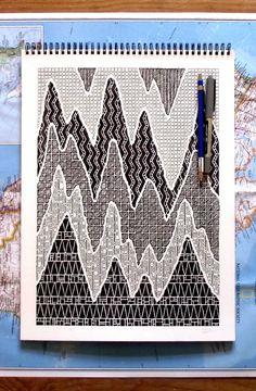 Aztec Mountains, Art Piece in Black Pen Ink Pen Drawings, Zentangle Drawings, Doodle Drawings, Zentangles, Doodle Patterns, Zentangle Patterns, Zen Doodle, Doodle Art, Pen Art