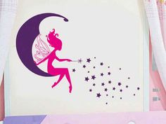 Cheap wall decals, Buy Quality flower fairy directly from China stickers on the wall Suppliers: flower fairy angel stiting on the moon stars pattern wall stickers for kids girls room home decor cartoon mural diy wall decals
