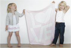 The LOVE blanket from Little Giraffe - comes in blue and pink