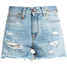 R13 Shredded Slouch denim shorts ($325) ❤ liked on Polyvore featuring shorts, destroyed jean shorts, high waisted jean shorts, distressed jean shorts, high-waisted denim shorts and jean shorts