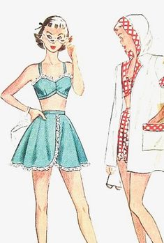 Simplicity Pattern 2448 Misses' Bathing Suit and Hooded Beach Coat Vintage Bathing Suit Sewing Pattern Simplicity Sewing Patterns, Vintage Sewing Patterns, Clothing Patterns, Sewing Ideas, Vintage Girls, Vintage Outfits, Vintage Stuff, Coats For Women, Clothes For Women