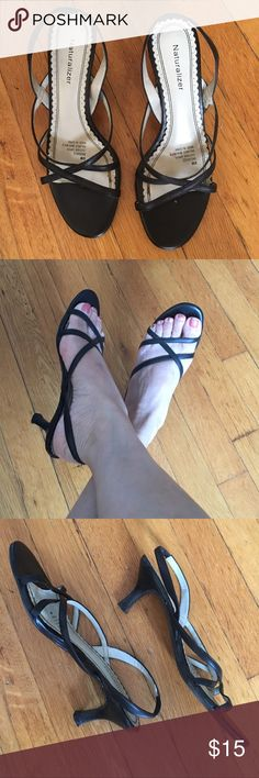 """Naturalizer Strappy Sandals🕊2 for $25 Deal🕊 Super elegant and comfy strappy sandals for the summer. You can wear this pair all day and be comfy. In good pre loved condition. Minor scuff on one heel but not noticeable when worn. Leather upper. 2.5"""" heels with rubber soles. Naturalizer shoes are made with comfort in mind. All their shoes are super comfy! ✨Buy any 2 $15 or less items for $25 & save on shipping✨ Naturalizer Shoes Sandals"""