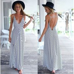 2017 Fashion Sexy Women Dress Sleeveless V-Neck Striped Backless Casual Long Maxi Dress Summer Beach Party Dress Flowy Summer Dresses, Backless Maxi Dresses, Striped Maxi Dresses, Sexy Dresses, Dress Summer, Dress Beach, Beach Dresses, Chiffon Dresses, Vacation Dresses