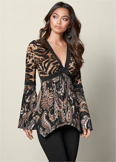 Printed Bell Sleeve Top from VENUS women's swimwear and sexy clothing. Order Printed Bell Sleeve Top for women from the online catalog or Kurta Designs, Blouse Designs, Hijab Fashion, Fashion Dresses, Paisley, Casual Outfits, Cute Outfits, Modelos Fashion, Chic Outfits