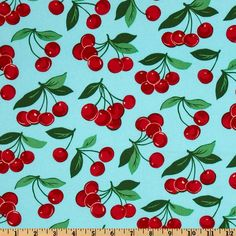 Procured: Wide Michael Miller Fruits & Vegetables My Cherry Aqua Fabric By The Yard Michael Miller - fabric to switch out or mix with the polka dot. Aqua Fabric, Retro Fabric, Vinyl Fabric, Cool Fabric, Retro Apron Patterns, Fun Patterns, Aqua Kitchen, Free Pattern Download, Colorful Fruit