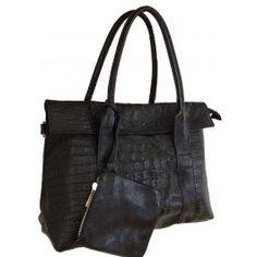 Aubree Bouillon -- Women's Black Flap Over Leather Tote | Free Shipping| Fabhere.com.au