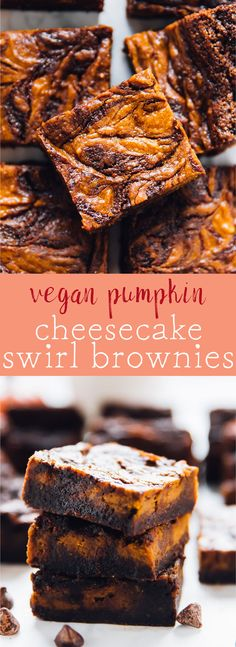TheseVegan Pumpkin Cheesecake Swirl Brownies will amaze your tastebuds and your guests!! They taste fantastic, are gluten free and are so easy to make! via https://jessicainthekitchen.com