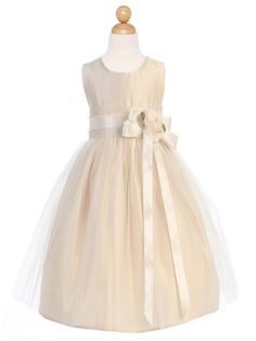 $40. Can remove the sash. Champagne Satin and Tulle Flower Girl Dress in Sizes Infants-12 in 11 Colors
