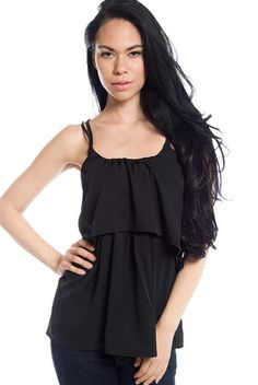 Beat of the Drum Strappy Back Ruffle Cami - Black from Fashion Web at Lucky 21 #getlucky21