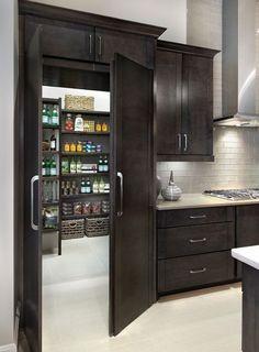 Hidden Kitchen Pantry Room (Hidden Kitchen Pantry Room) design ideas and photos . Hidden Kitchen P Kitchen Pantry Design, Home Decor Kitchen, Home Kitchens, Kitchen With Pantry, Kitchen Ideas, Kitchen Refrigerator, Kitchen Sink, Kitchen Storage, Hidden Pantry