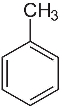 Toluene is a clear, water-insoluble liquid with the typical smell of paint thinners. It is a mono-substituted benzene derivative, i.e., one in which a single hydrogen atom from a group of six atoms from the benzene molecule has been replaced by a univalent group, in this case CH3.