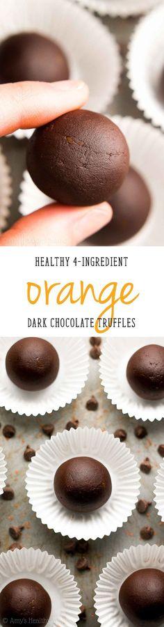 Healthy Dark Chocolate Orange Truffles -- only 4 ingredients & 21 calories! This easy recipe tastes so fancy, even with NO heavy cream or sugar! | easy dark chocolate truffles | homemade chocolate truffles recipe | easy healthy homemade candy