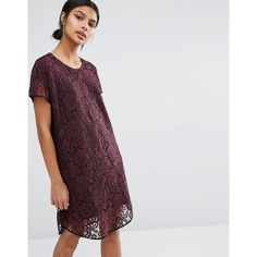 Y.A.S Cona Lace Dress (€82) ❤ liked on Polyvore featuring dresses, purple, loose fit dress, loose fitting dresses, braid dress, round neck dress and lace cocktail dress