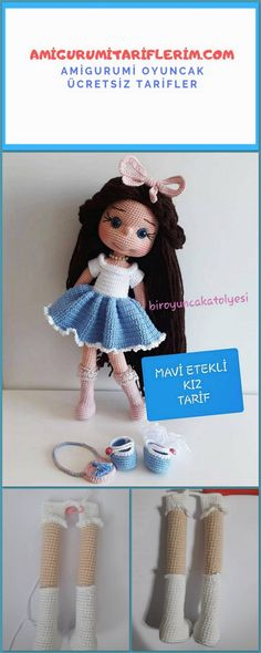 Alle Neuen : Amigurumi Girl in a Blue Skirt - My Amigurumi Recipes Crochet Fox, Crochet Bunny Pattern, Crochet Amigurumi Free Patterns, Crochet Crafts, Free Crochet, Amigurumi Giraffe, Amigurumi Doll, Baby Patterns, Doll Patterns
