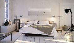 Biała i naturalna sypialnia