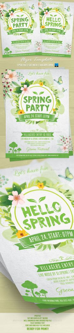 Spring Party Flyer Template PSD