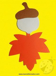 Ghianda e foglie sono realizzate con pochissimo materiale; occorrono dei cartoncini e tanta fantasia per animare con occhi e bocca i nostri soggetti. GHIA Autumn Crafts, Crafts For Kids To Make, Autumn Art, Christmas Crafts, Diy Classroom Decorations, School Decorations, Kids Art Class, Halloween Trees, Fall Projects
